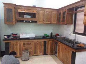Bộ tủ gỗ tự nhiên đã hoàn thành tại công trình