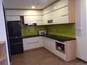Bộ tủ bếp chất liệu mfc an cường đã hoàn thành của nội thất bếp việt