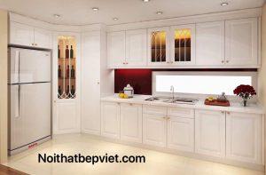 Mẫu tủ bếp gỗ sồi nga sơn trắng đẹp nhất bắc ninh